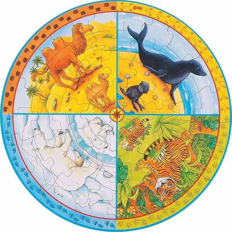 Puzzle Tekturowe Cztery strony świata 57719-Goki, układanki dla dzieci