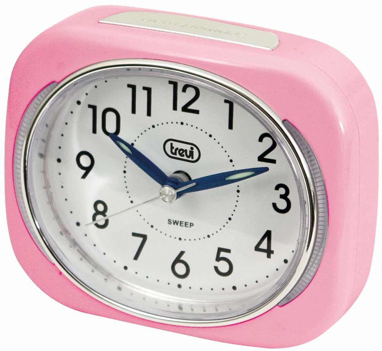 Trevi retro budzik podróżny z podświetleniem LED i cichym przesuwaniem drugiej ręki, różowy, 10 x 3,6 x 8 cm