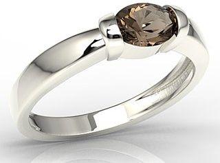 Pierścionek z białego złota z kwarcem dymnym ap-67b-kwa