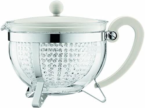 Bodum CHAMBORD dzbanek na herbatę (kolorowa plastikowa pokrywka, filtr, odporny na ciepło, 1,3 l/44 uncji) - biały