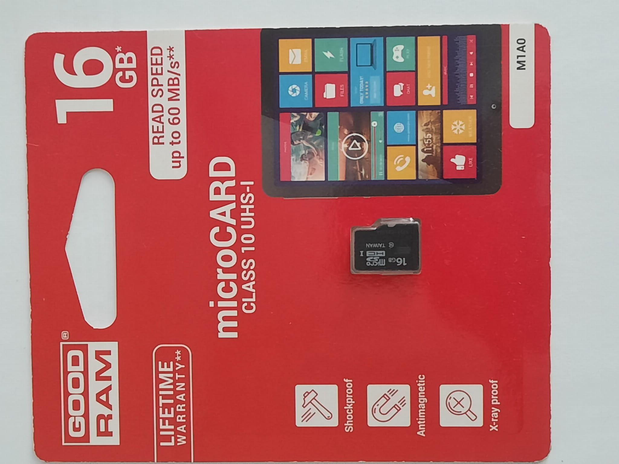 Karta pamięci GOODRAM microSD 16GB class 10 UHS I (M1A0)