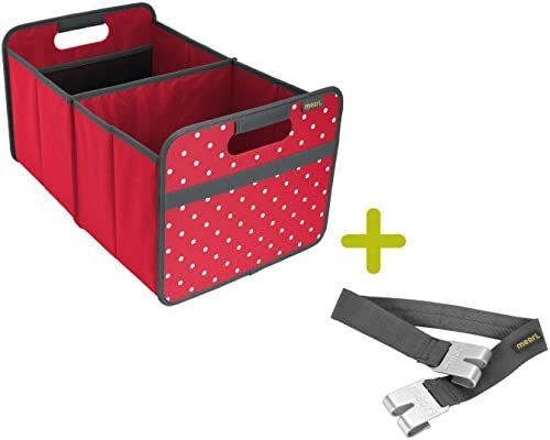 meori Składane pudełko czerwone/kropki, duże hibiskus, uchwyt do noszenia, 32 x 50 x 27,5 cm, stabilne, zmywalne poliester, jakość premium, na czas wolny, do klubu, sportu, na wakacje, zestaw