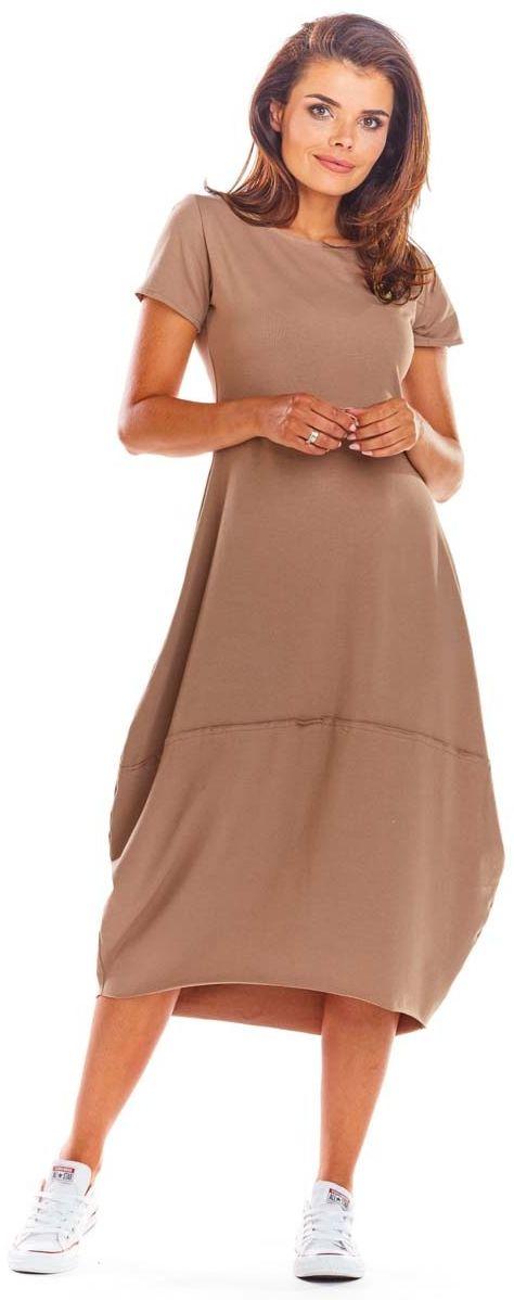 Beżowa codzienna sukienka bombka z krótki rękawem