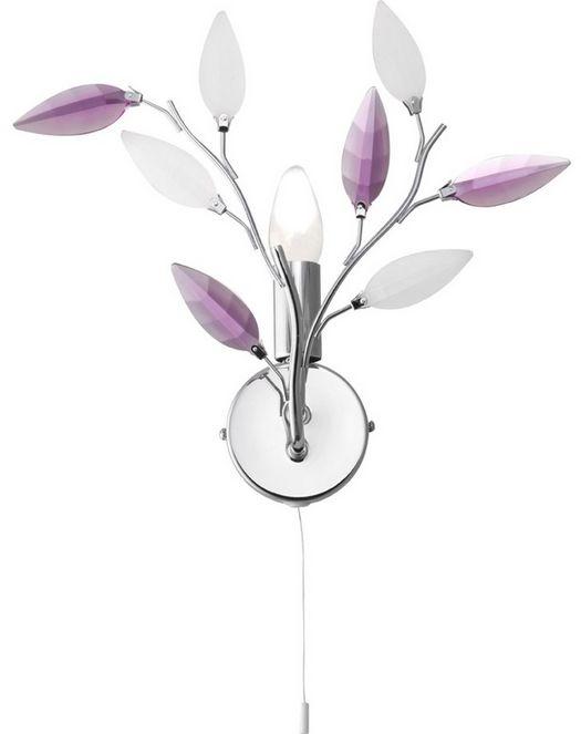 Globo kinkiet lampa ścienna Giulietta 63167-1W chrom akrylowe kryształy satynowe i fioletowe