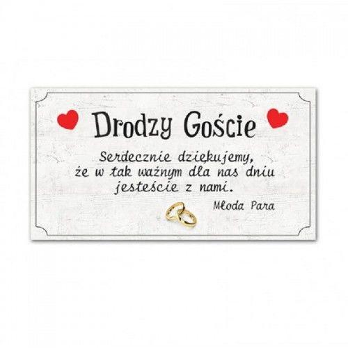 Bilecik z podziękowaniem dla Gości Weselnych, Ślub Na Wesoło 20 szt.