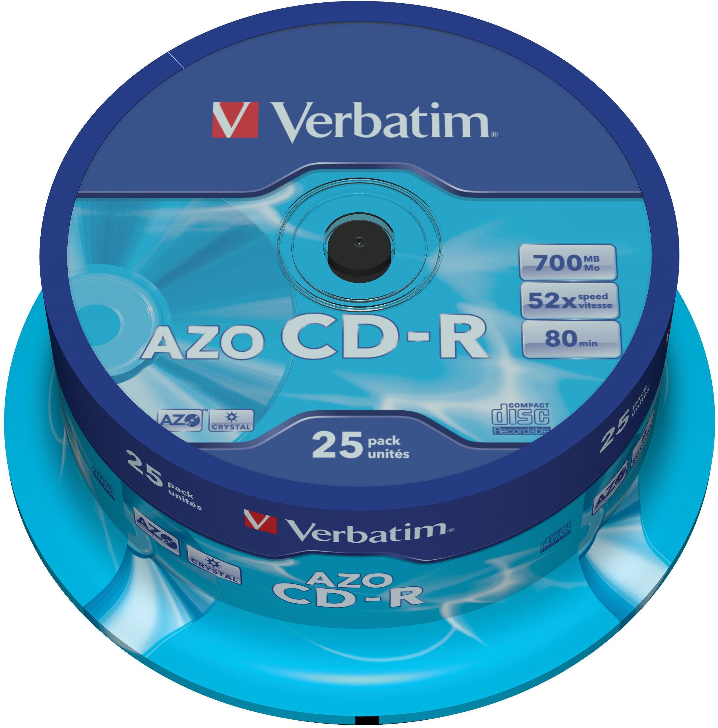CD-R VERBATIM 52X 700MB CRYSTAL CAKE 25