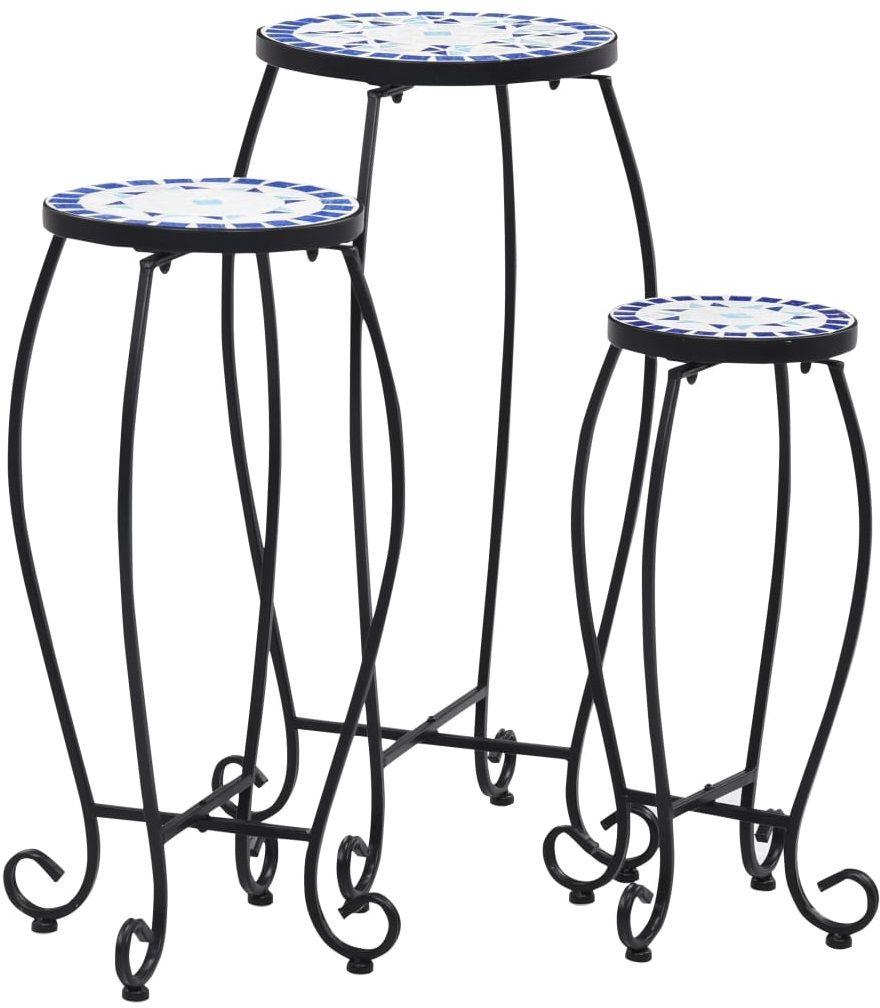 Zestaw niebiesko-białych stolików okrągłych  Henry