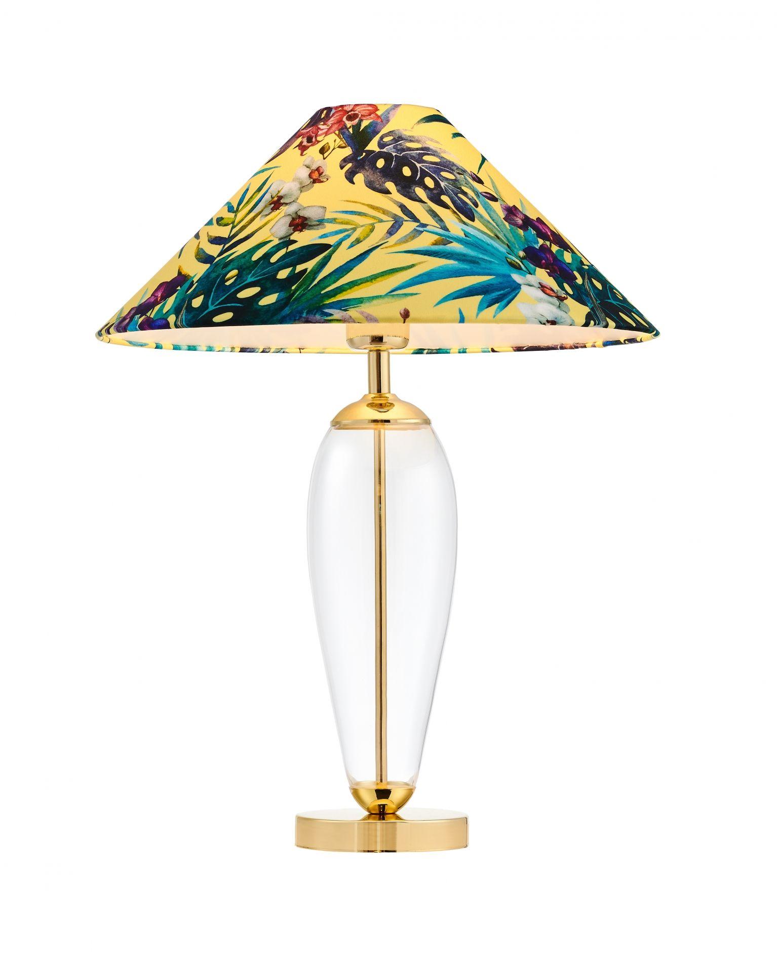 Lampa stołowa Feria 1 40904114 KASPA dekoracyjna oprawa z kwiatowym abażurem