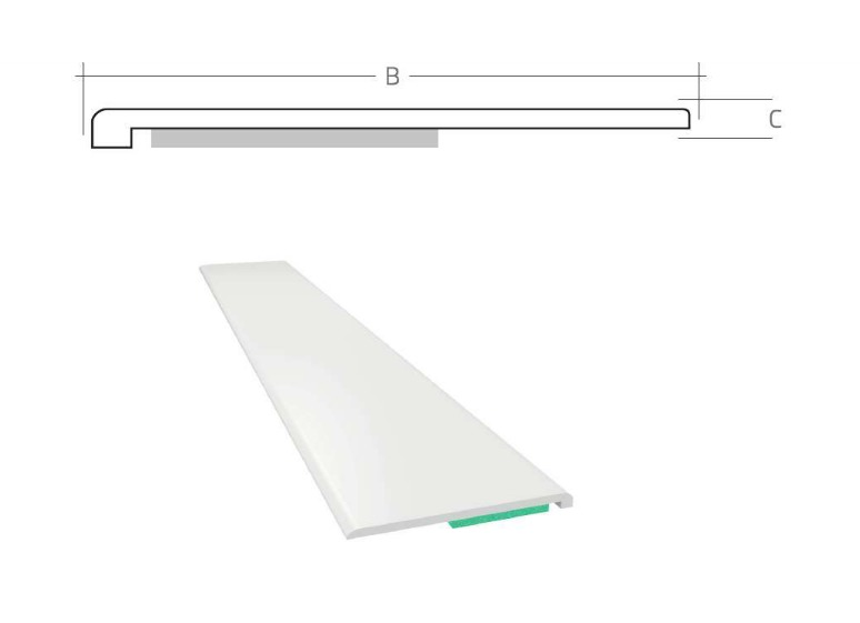Listwa maskująca płaska samoprzylepna PCV B=60 mm gr. C=1,5 mm biała bez uszczelki L=50 mb