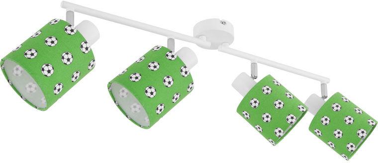 Globo LEMMI 54009-4 listwa oświetleniowa biało-zielony dekor piłka nożna 4xE14 40W 81,6cm