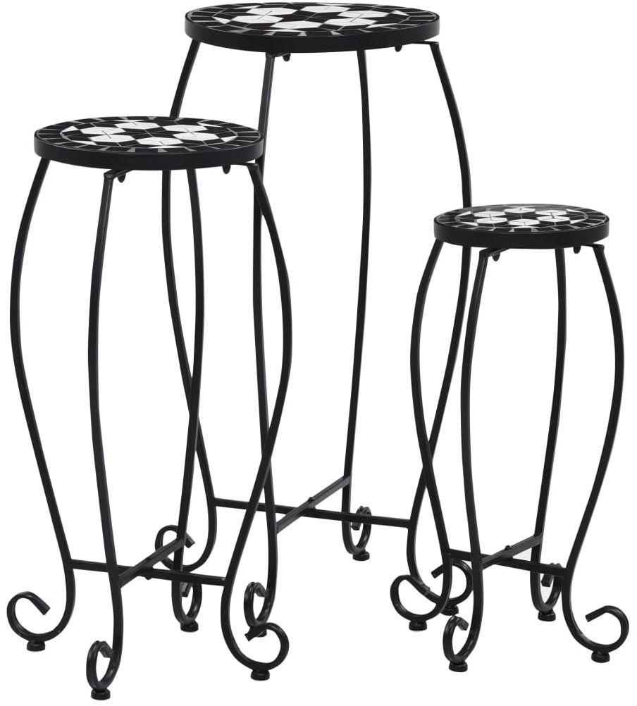 Zestaw trzech czarno-białych stolików  Henry