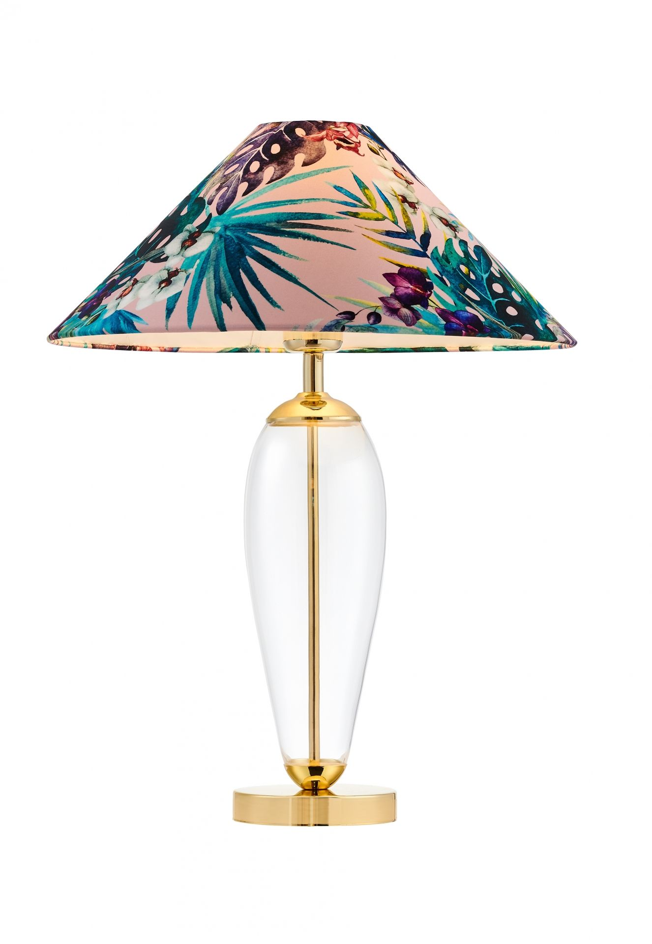 Lampa stołowa Feria 1 40909116 KASPA różowa oprawa z kwiatowym abażurem