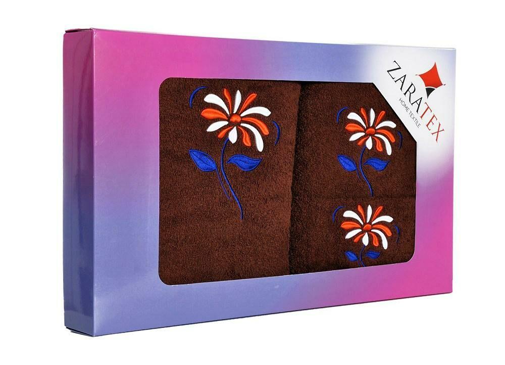 Komplet ręczników w pudełku 3 szt kwiaty Rumianek brązowy ciemny 30x50, 50x90, 70x140 400g/m2