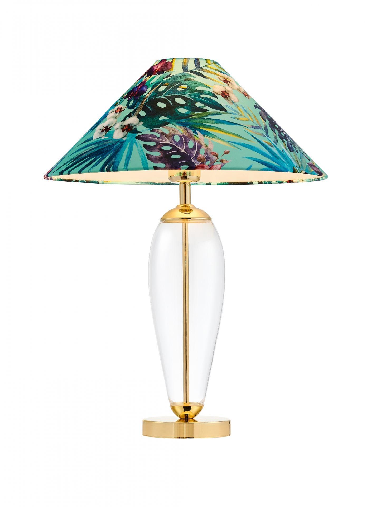 Lampa stołowa Feria 1 40914113 KASPA zielona oprawa z kwiatowym abażurem