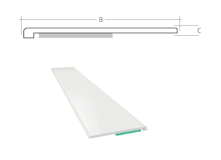 Listwa maskująca płaska samoprzylepna PCV B=70 mm gr. C=1,5 mm biała bez uszczelki L=50 mb