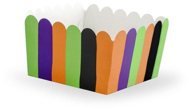 Foremki papierowe na słodycze paski Hocus Pocus 8x8cm 6 sztuk FNS4