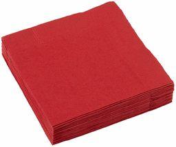 Amscan Czerwone 2-warstwowe serwetki koktajlowe przyjęcie 23 cm, papier, 20 szt