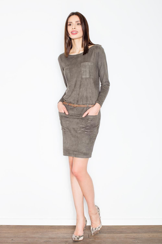 Oliwkowa prosta midi sukienka z paskiem z eko-skóry