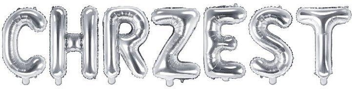 Balony foliowe napis CHRZEST srebrny 35cm 1szt FB2M-CHRZEST-018