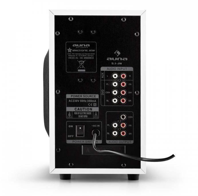 Auna 5.1-JW Zestaw głośników aktywnych Multimedia Surround Kino domowe 95W RMS AUX biały