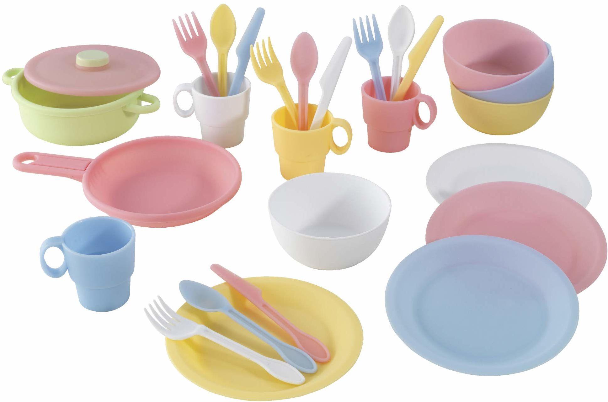 KidKraft 63027 27-częściowy zestaw kuchenny do zabawy zestaw naczyń zabawkowych, pastelowe kolory