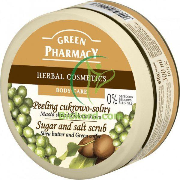 Peeling Cukrowo -Solny Masło Shea i Zielona Kawa, Green Pharmacy