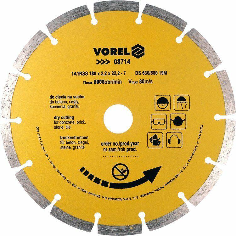 Tarcza diamentowa 180 mm segmentowa Vorel 08714 - ZYSKAJ RABAT 30 ZŁ
