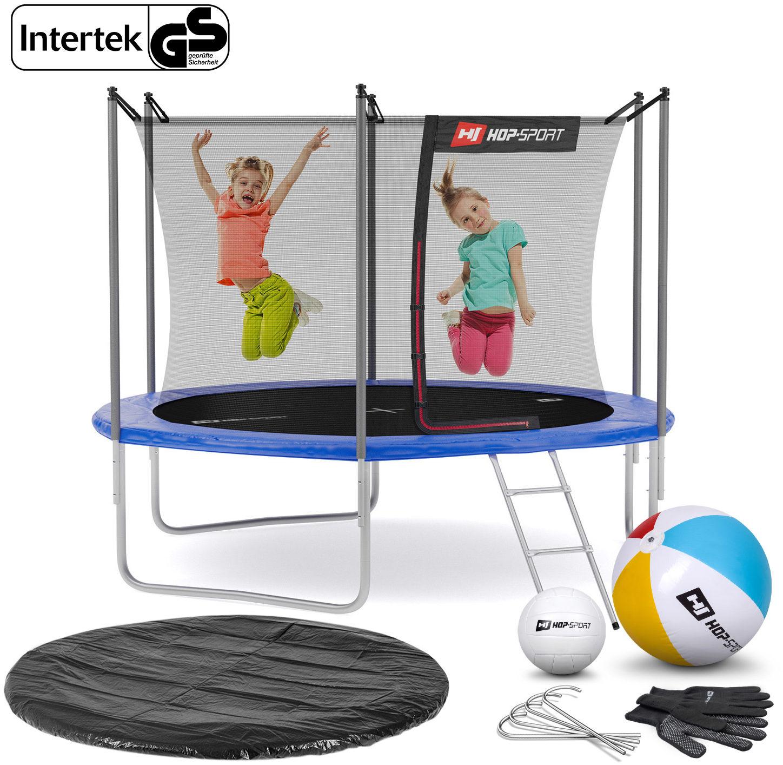 Trampolina Hop-Sport 10ft (305cm) niebieska z siatką wewnętrzną - 3 nogi