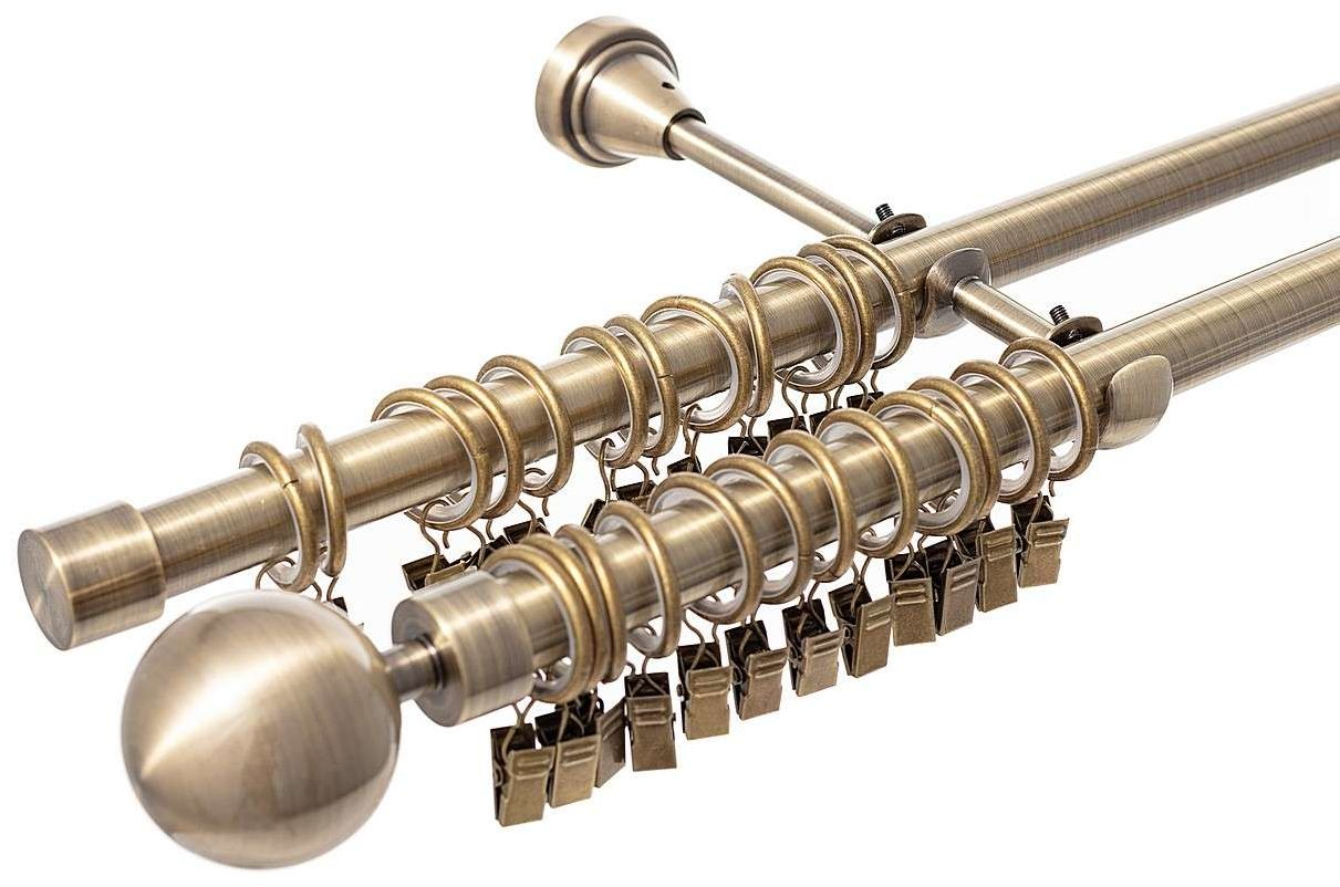 Karnisz podwójny Elegant antique brass 200cm, 200 cm