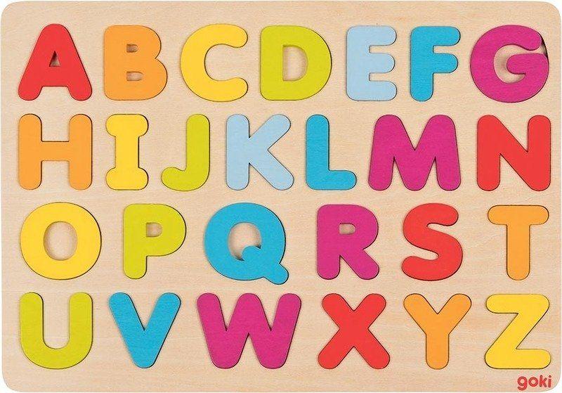 Układanka drewniana Alfabet tęcza 57732-Goki, zabawki edukacyjne dla dzieci