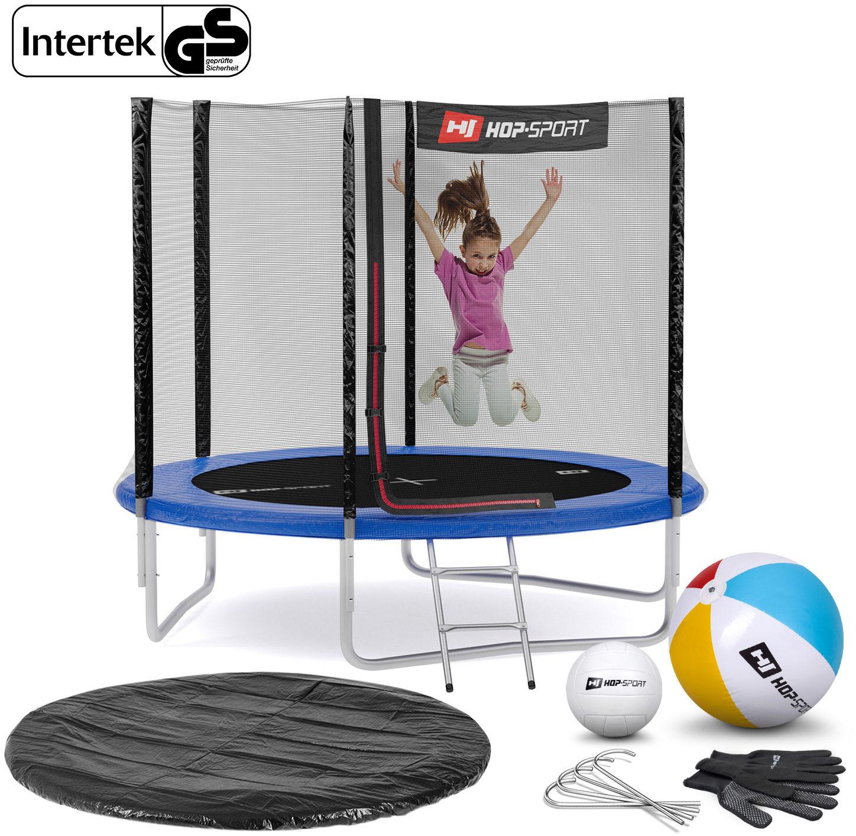 Trampolina Hop-Sport 8ft (244cm) niebieska z siatką zewnętrzną