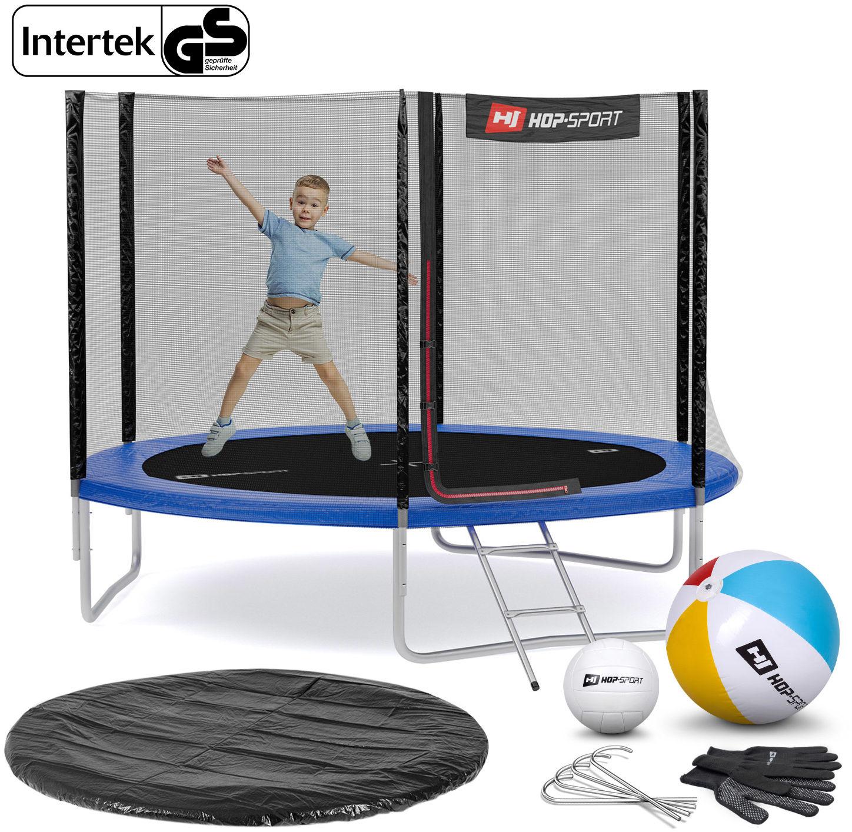 Trampolina Hop-Sport 10ft (305cm) niebieska z siatką zewnętrzną - 3 nogi