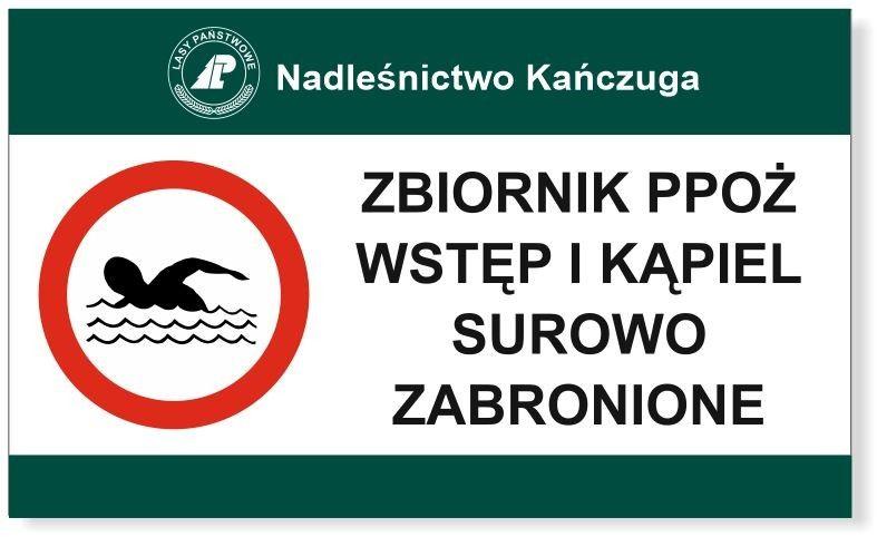 Tabliczka Zbiornik ppoż wstęp i kąpiel zabronione
