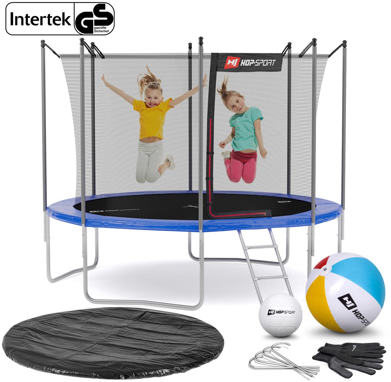 Trampolina Hop-Sport 10ft (305cm) niebieska z siatką wewnętrzną - 4 nogi