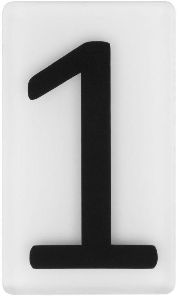 Cyfra 1 wys. 5 cm plexi czarna na białym tle