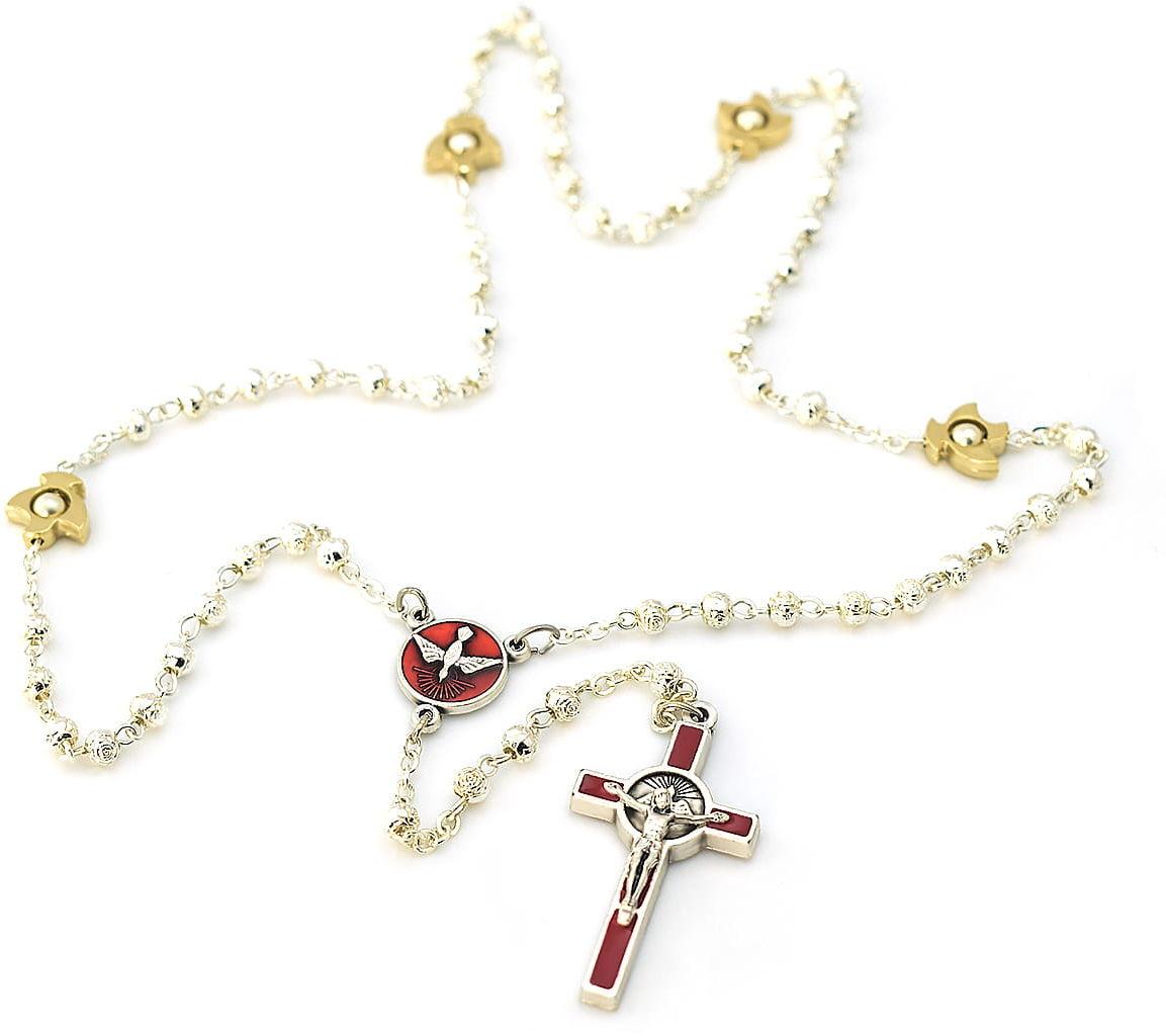 Różaniec metalowy z Duchem Świętym