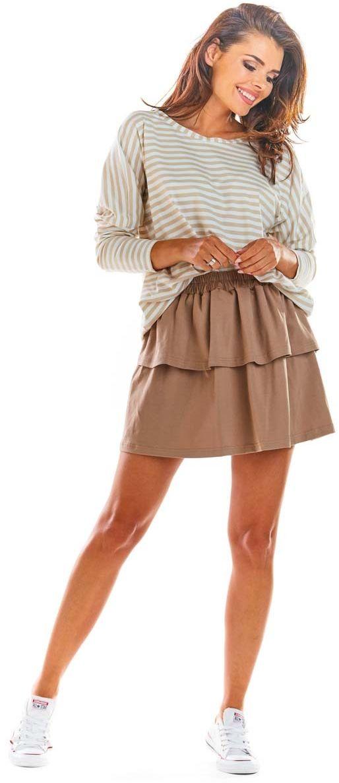 Beżowa rozkloszowana mini spódnica z falbanką