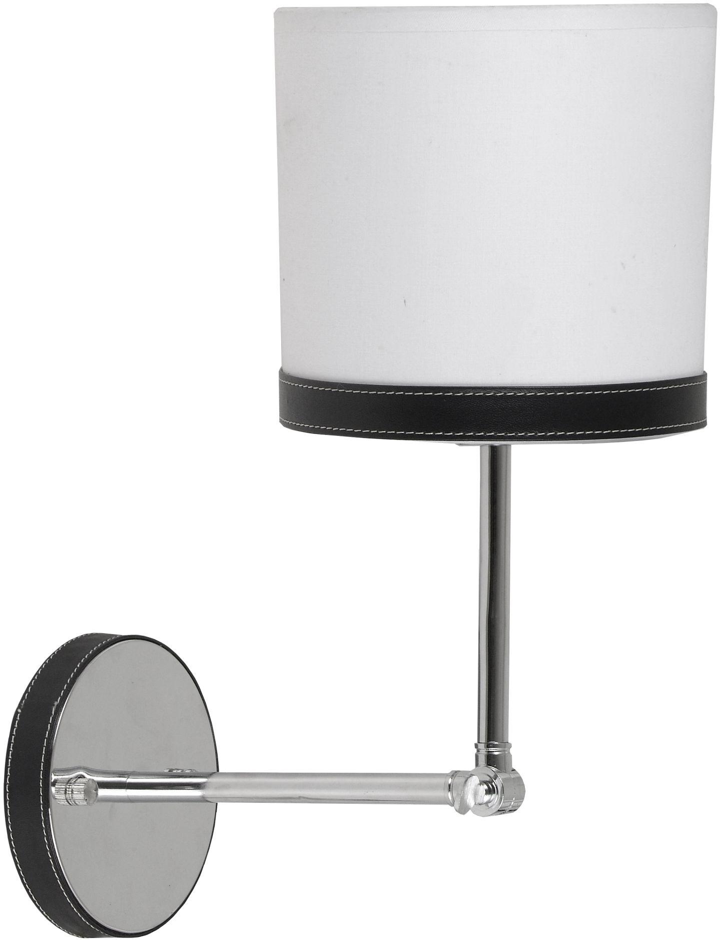 Candellux TIDA 21-31115 kinkiet lampa ścienna chrom abażur płótno skóra 1X40W E14 16cm