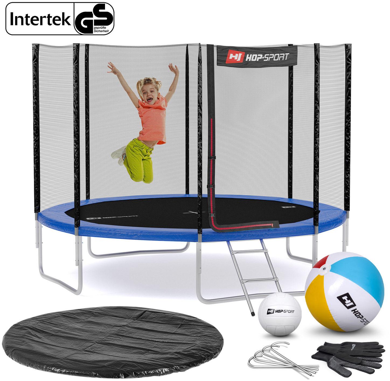 Trampolina Hop-Sport 10ft (305cm) niebieska z siatką zewnętrzną - 4 nogi
