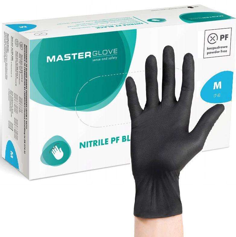 Rękawiczki Nitrylowe CZARNE BLACK M 100 sztuk