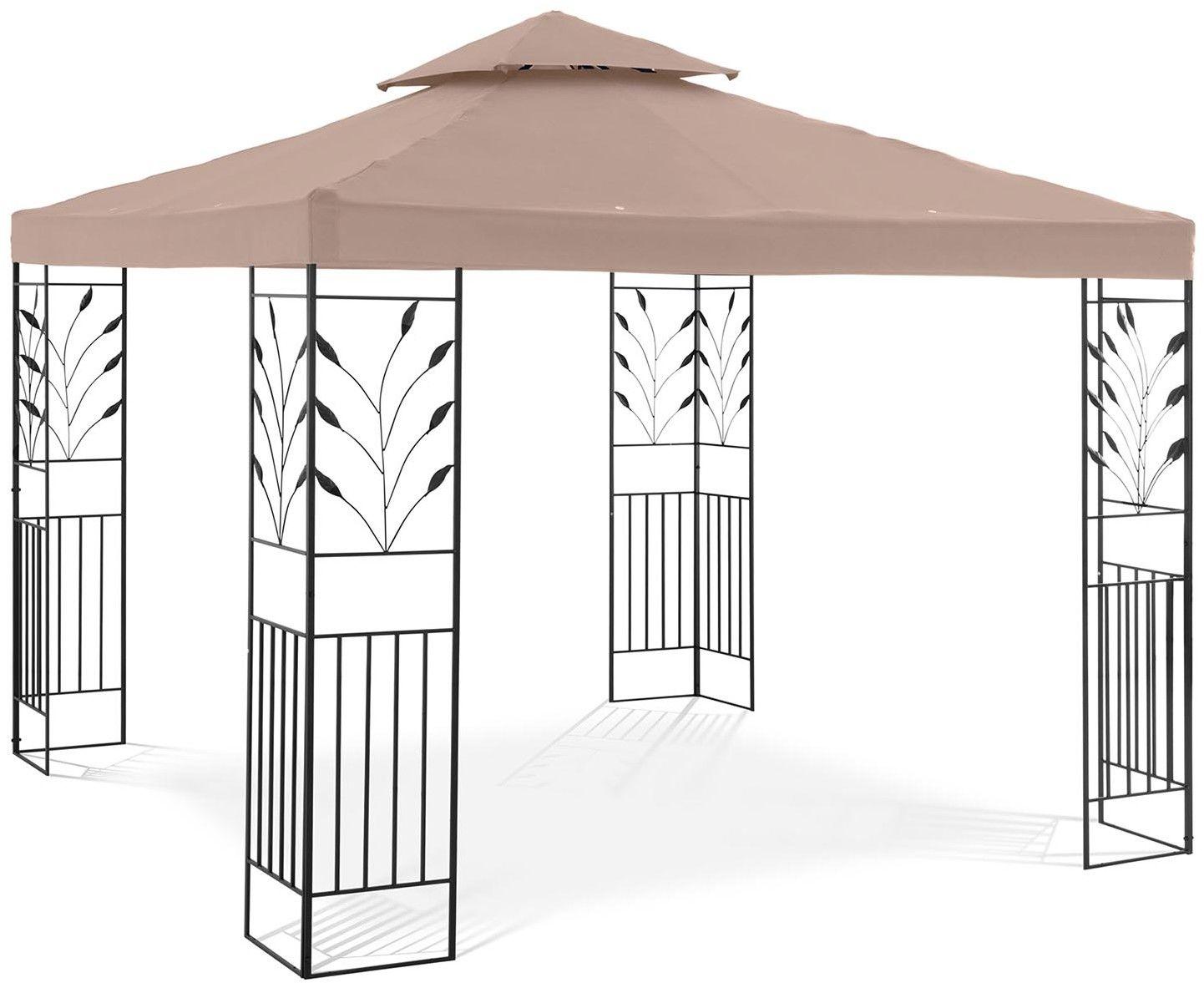 Pawilon ogrodowy - ornament - beżowy - Uniprodo - UNI_PERGOLA_3X3T_U - 3 lata gwarancji/wysyłka w 24h