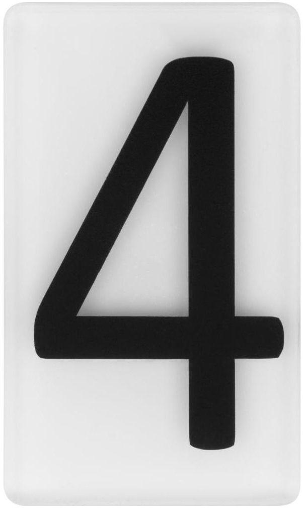 Cyfra 4 wys. 5 cm plexi czarna na białym tle