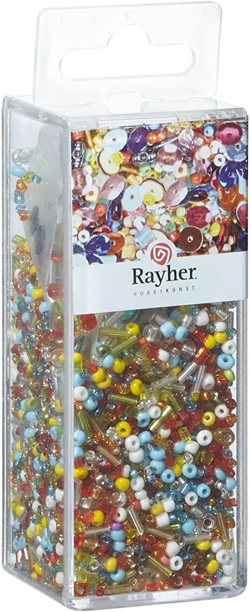 Rayher 24086000 miks cekinów/szklanych koralików, kolorowa mieszanka, 90 g i 50 m drutu, średnica 0,3 mm, koraliki do majsterkowania, Rocailles, cekiny, perły woskowe, drut do nawlekania
