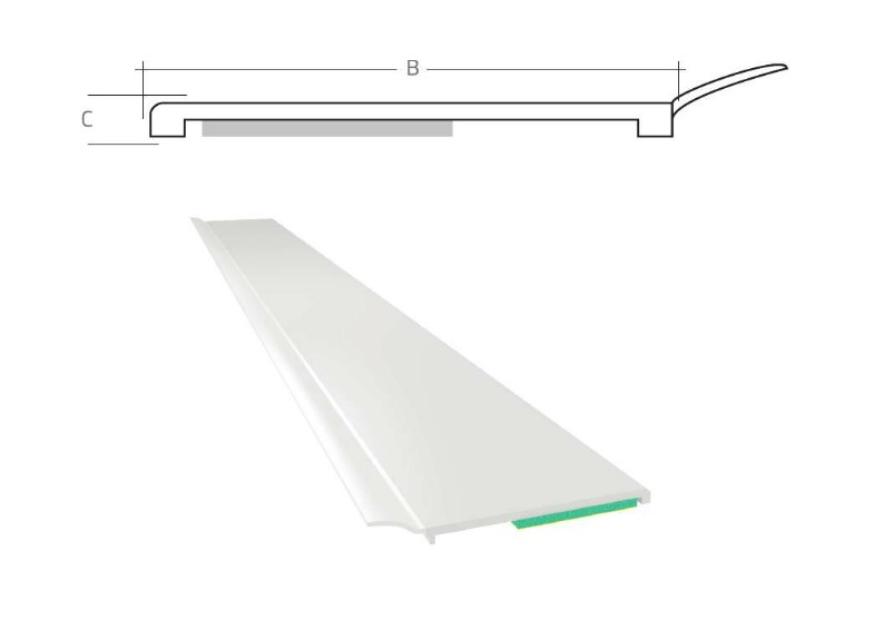 Listwa maskująca płaska samoprzylepna PCV B=60 mm gr. C=1 mm biała z uszczelką L=50 mb