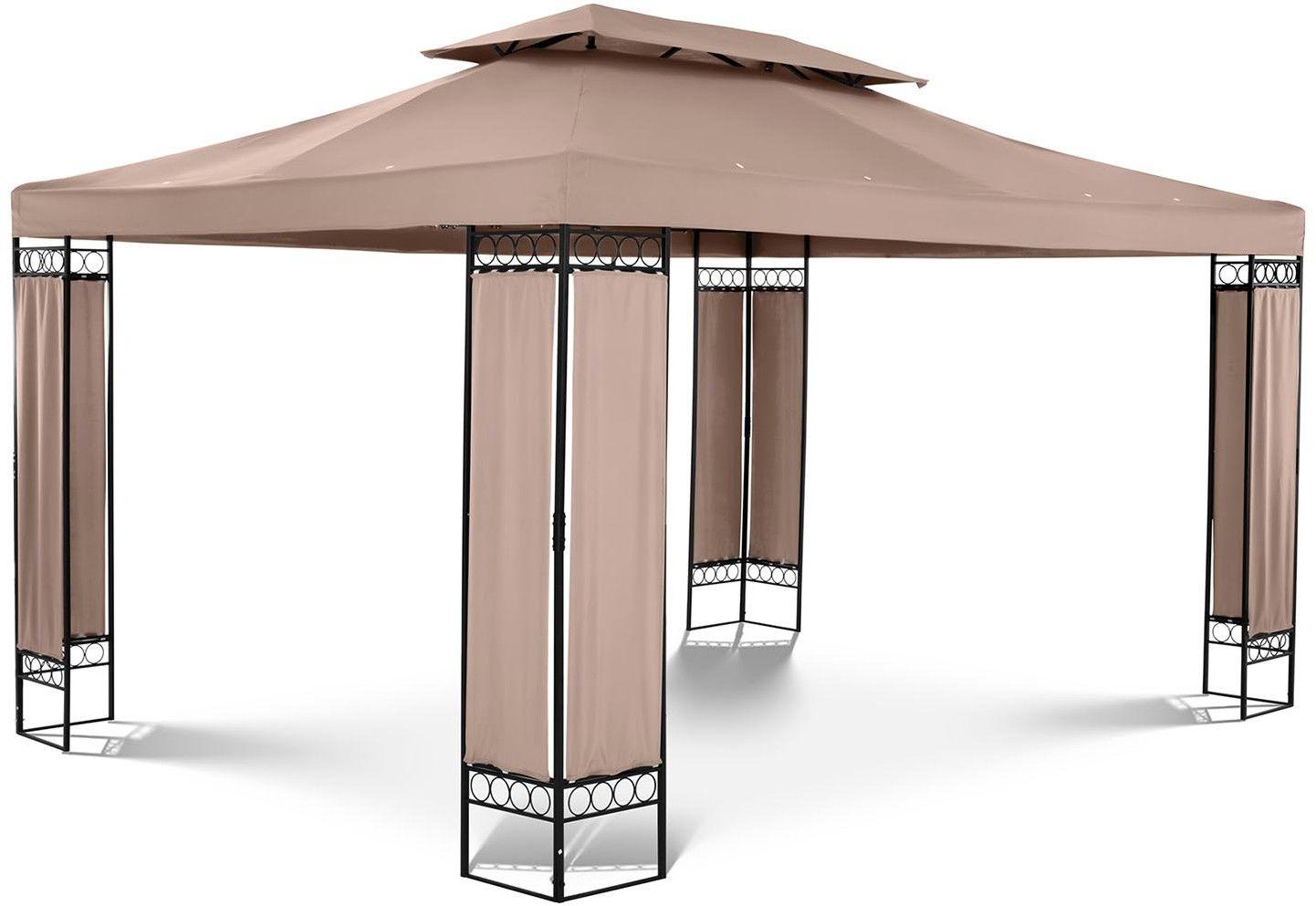 Pawilon ogrodowy - prostokątny - beżowy - Uniprodo - UNI_PERGOLA_3X4TF_U - 3 lata gwarancji/wysyłka w 24h