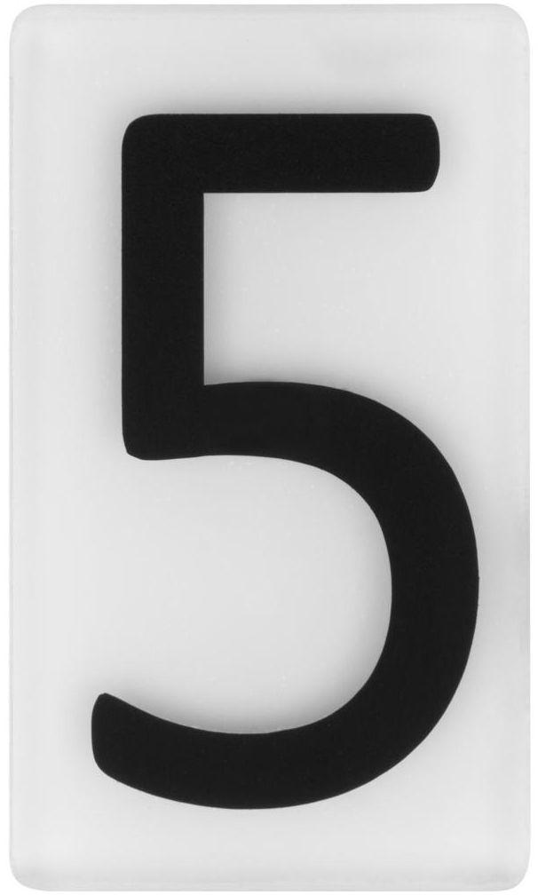 Cyfra 5 wys. 5 cm plexi czarna na białym tle