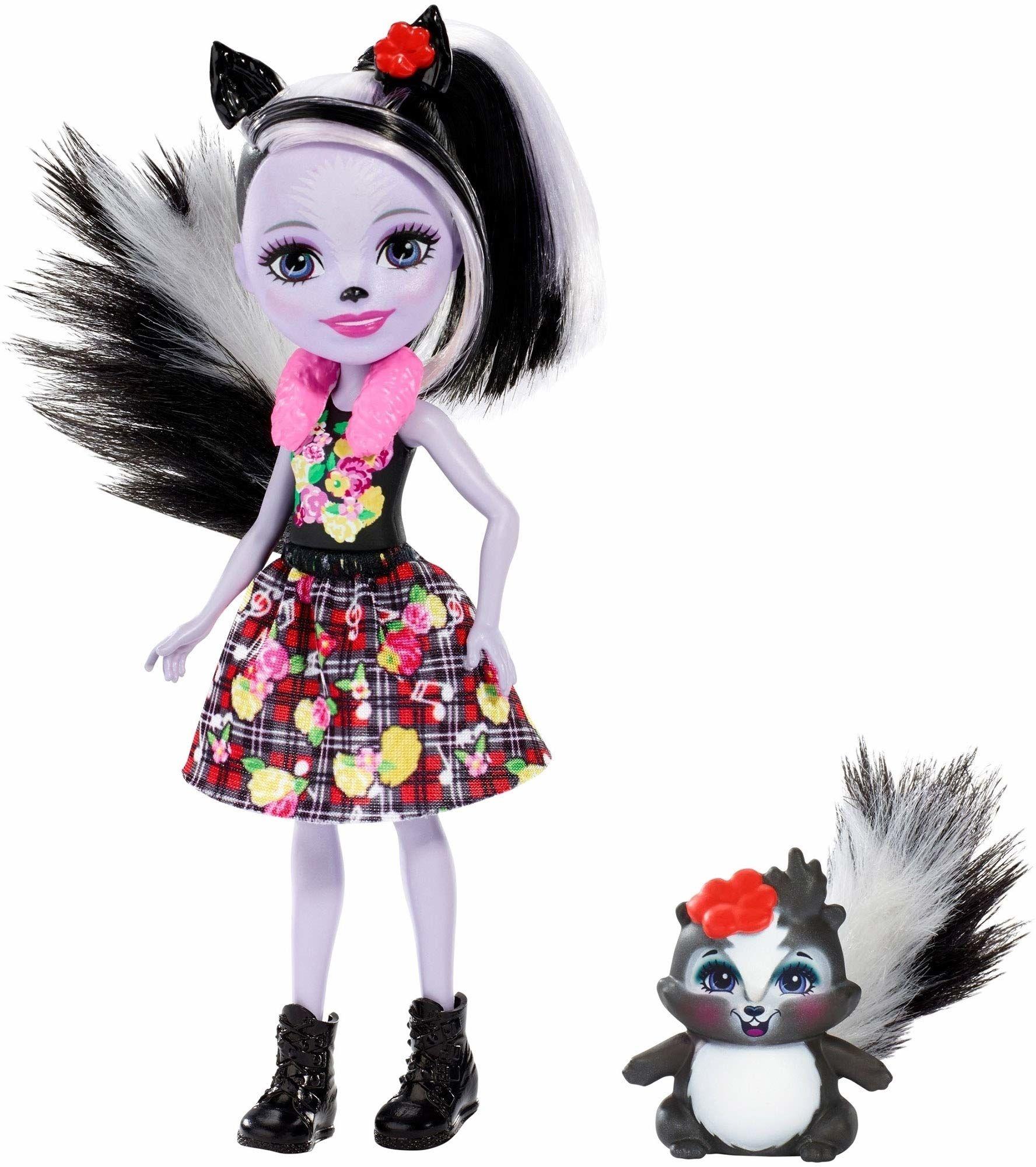 Enchantimals - Lalka ze Zwierzątkiem Skunks, Wielokolorowy, FXM72