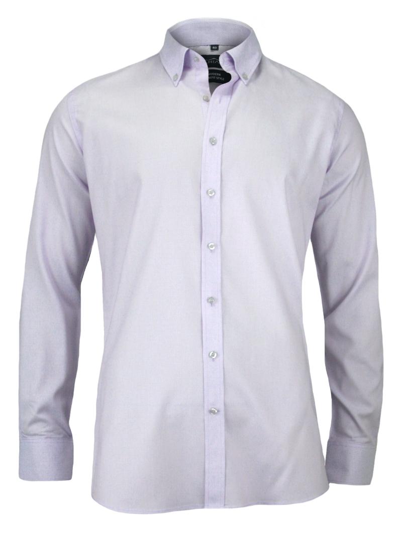 Męska, Taliowana Koszula Slim-Fit, Długi Rękaw - 100% BAWEŁNA- Biała KSDWCHIAOM5C03C