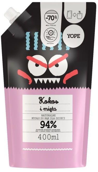 Mydło dla Dzieci Naturalne Kokos i Mięta Uzupełniacz Refill 400ml - Yope