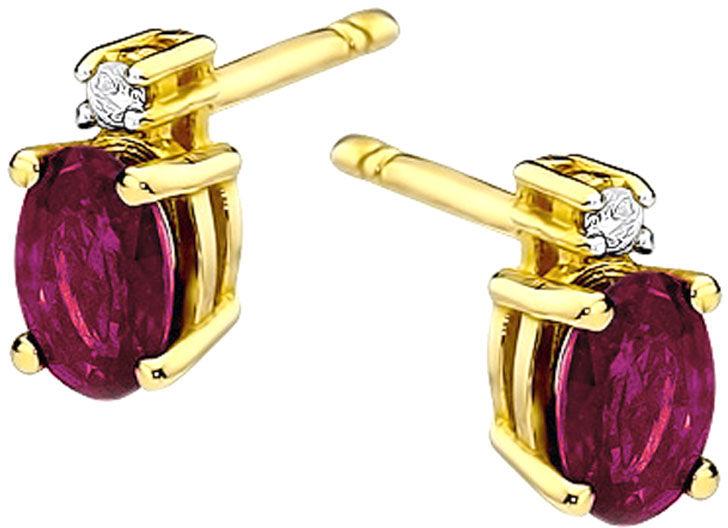 Złote kolczyki 585 z rubinami i diamentami sztyft
